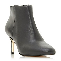 Dune - Black leather 'Outspoken' mid stiletto heel ankle boots