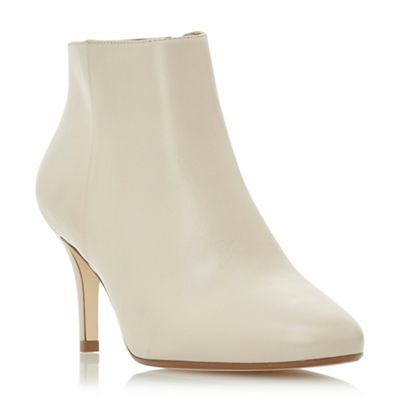 Dune   Cream Leather 'outspoken' Mid Stiletto Heel Ankle Boots by Dune