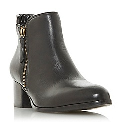 Dune - Black leather 'Pericle' mid block heel ankle boots