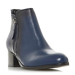 Dune - Navy leather 'Pericle' mid block heel ankle boots