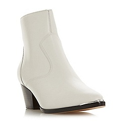 Dune - White leather 'Prairrie' mid block heel ankle boots