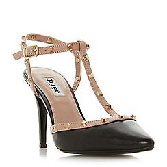Dune - Black leather 'Catelyn' mid stiletto heel pointed shoes