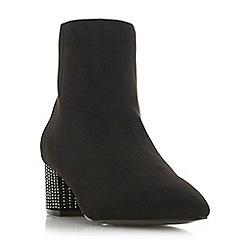 Head Over Heels by Dune - Black 'Onassis' mid block heel ankle boots