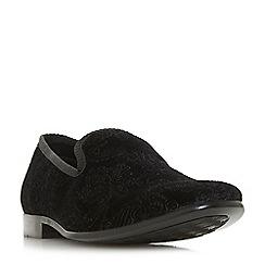 Dune - Black 'Percolate' velvet embossed slipper cut shoes