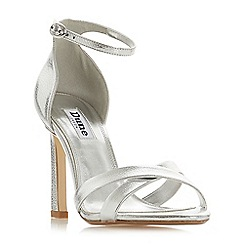 Dune - Silver leather 'Madalay' high stiletto heel peep toe sandals