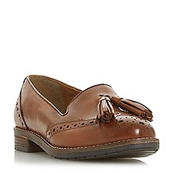 Dune - Tan leather 'Wf Gillian' block heel wide fit loafers