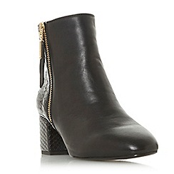 Dune - Black leather 'Wf orlla' mid block heel wide fit ankle boots