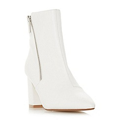 Head Over Heels by Dune - White 'Olla' mid block heel ankle boots