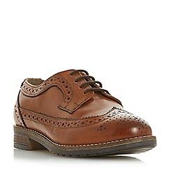 Dune - Tan leather 'Wf felixe' block heel wide fit brogues shoes