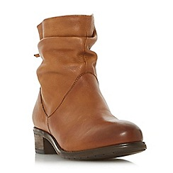 Dune - Tan leather 'Wf pagerss' block heel wide fit ankle boots