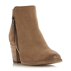 Dune - Taupe leather 'Wf ponntoon' mid block heel wide fit ankle boots