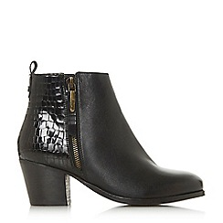 Dune - Black leather 'Wf peerson' mid block heel wide fit ankle boots