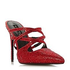 Dune - Red 'Charlotta' high stiletto heel mules