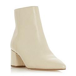 Dune - Cream leather 'Omari' mid block heel ankle boots
