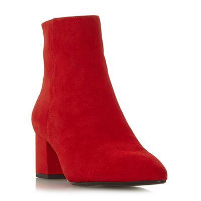 Dune - Red heel suede 'Omari' mid block heel Red ankle boots 4f4d23