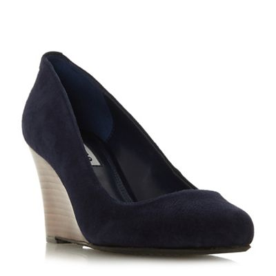 Dune - wedge Navy suede 'Alixxe' high wedge - heel court shoes b52394