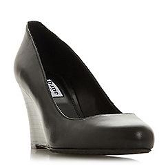 Dune - Black leather 'Alixxe' high wedge heel court shoes