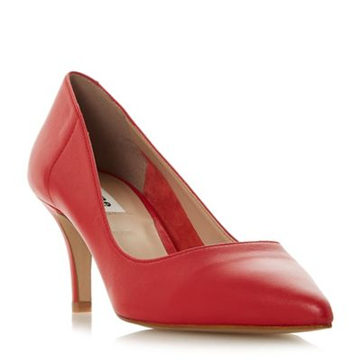Dune Dune Dune - Red leather 'Andra' mid kitten heel court shoes 6d070f