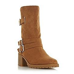 Head Over Heels by Dune - Tan 'Rosie' block heel shoe boots