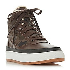 Dune - Brown 'Sake' borg lined high tops trainers