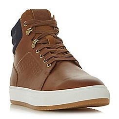 Dune - Tan 'Sumac' collar detail high tops trainers