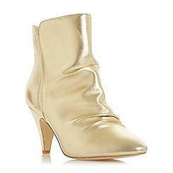 Head Over Heels by Dune - Gold 'Odina' mid stiletto heel shoe boots
