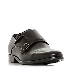 Dune - Black 'Wpires' wide fit double buckle monk shoes