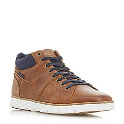 Dune - Tan 'Stockbridge' perforated high top sneakers