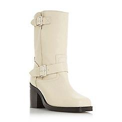 Dune - Cream leather 'Romeo' mid block heel calf boots
