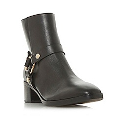 Dune - Black leather 'Pryncetown' mid block heel ankle boots