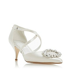 Dune - Ivory 'Crushing' kitten heel court shoes