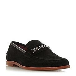 Bertie - Black 'Surbiton' suede square toe loafers