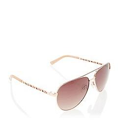Dune - Light Pink 'Goviator' Chain Detail Aviator Sunglasses