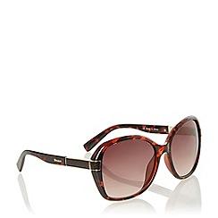 Dune - Brown 'Geptile' Reptile Arm Square Frame Sunglasses