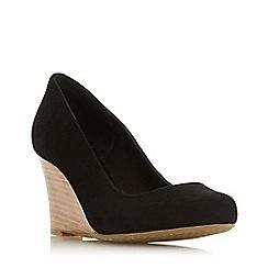 Dune - Black suede 'Allixe' high wedge heel court shoes