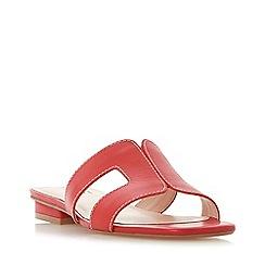 Dune - Red Leather 'Loupe' Block Heel Peep Toe Sandals