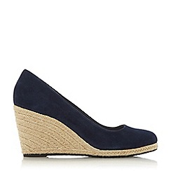 Dune - Navy Suede 'Annabella' High Wedge Heel Espadrilles Court Shoes
