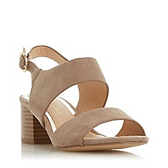 Head Over Heels by Dune - Taupe 'Jace' Mid Block Heel Ankle Strap Sandals