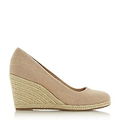 Dune - Natural 'Annabella' High Wedge Heel Espadrilles Court Shoes