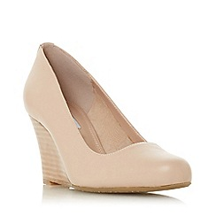 Dune - True_nude suede 'Allixe' high wedge heel court shoes