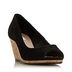 Dune - Black Suede 'Caydence' High Wedge Heel Court Shoes