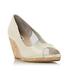 Dune - Silver Canvas 'Caydence' High Wedge Heel Court Shoes