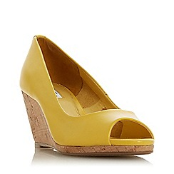 Dune - Yellow Leather 'Caydence' High Wedge Heel Court Shoes