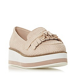 Head Over Heels by Dune - Natural 'Gillys' mid wedge heel loafers