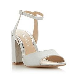 Head Over Heels by Dune - Silver 'Mariaah' high block heel ankle strap sandals