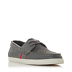 Dune - Grey 'Boita' mixed material boat shoes