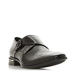 Dune - Black 'Swindon' Perforated Single Buckle Monk Shoes