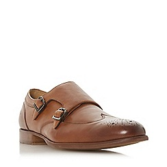 Dune - Tan 'Scotia' brogue detail monk shoes