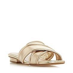 Dune - Gold Leather 'Ludo' Peep Toe Sandals