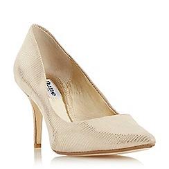 Dune - Light gold 'Allina' mid stiletto heel court shoes